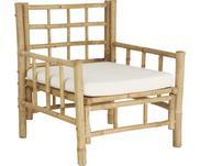 Fotel z drewna bambusowego z tapicerowanym siedziskiem Mandisa