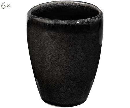 Ręcznie wykonany kubek z kamionki Nordic Coal, 6 szt.