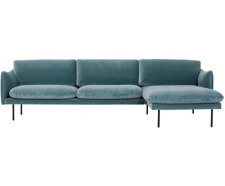 Sofa narożna z aksamitu z metalowymi nogami Moby
