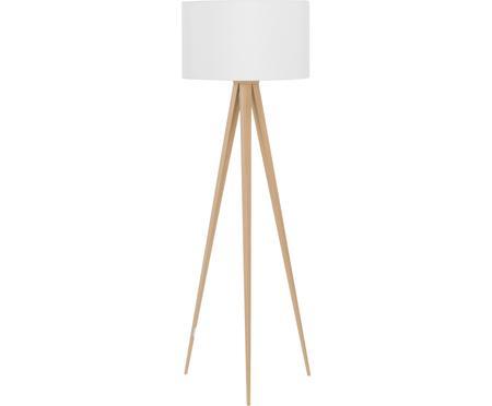 Lampa podłogowa z drewnianą podstawą Jake