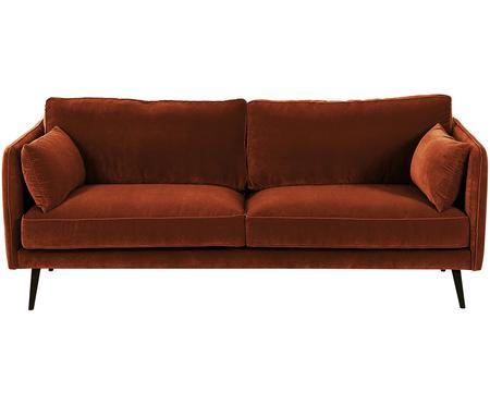 Sofa z aksamitu z drewnianymi nogami Paola (3-osobowa)