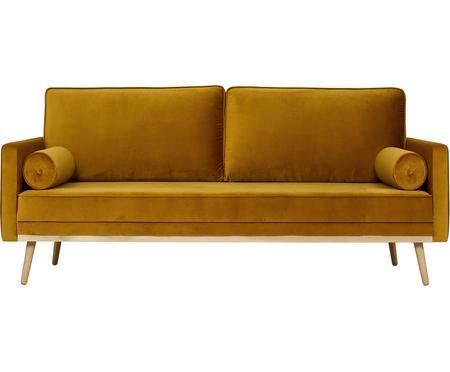 Sofa z aksamitu z nogami z drewna dębowego Saint (3-osobowa)