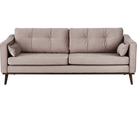 Sofa z aksamitu z nogami z drewna bukowego Alva (3-osobowa)