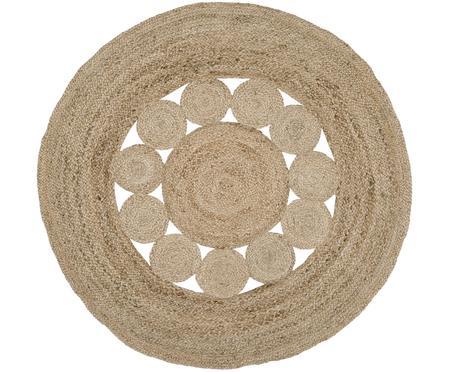Okrągły ręcznie tkany dywan z juty Tapu