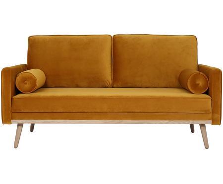 Sofa z aksamitu z nogami z drewna dębowego Saint (2-osobowa)