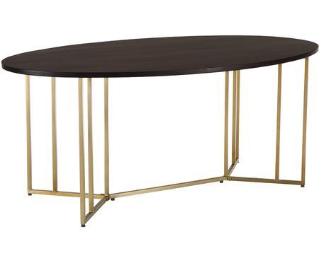 Owalny stół do jadalni z litego drewna Luca