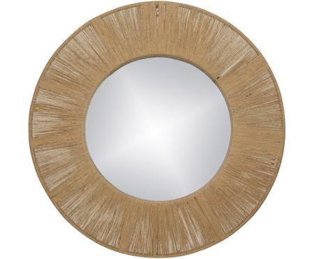 Okrągłe lustro ścienne z ramą z naturalnych włókien Finesse
