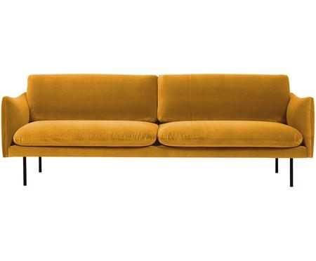 Sofa z aksamitu z metalowymi nogami Moby (3-osobowa)