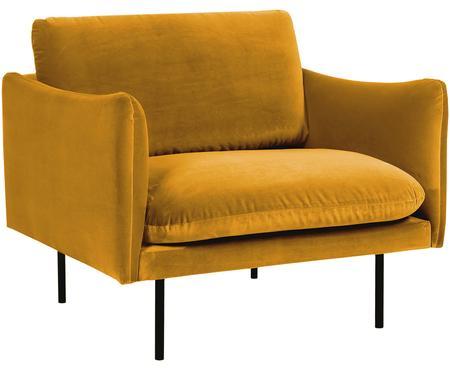 Fotel z aksamitu z metalowymi nogami Moby