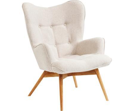 Fotel uszak z drewnianymi nogami Vicky
