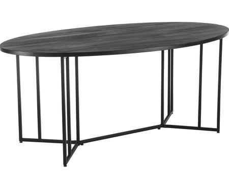 Owalny stół do jadalni z blatem z litego drewna Luca