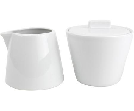 Komplet do mleka i cukru z porcelany Stripeless, 2 elem.