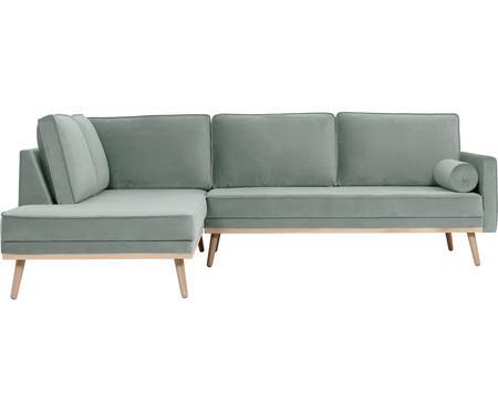 Sofa narożna z aksamitu z nogami z drewna dębowego Saint (3-osobowa)
