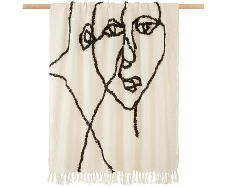 Puszysty koc z bawełny z tuftowanym wzorem Face