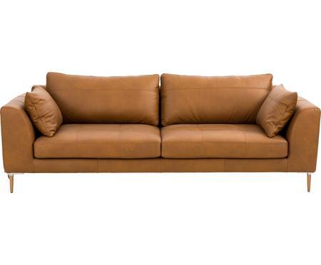 Sofa ze skóry z drewnianymi nogami Canyon (3-osobowa)