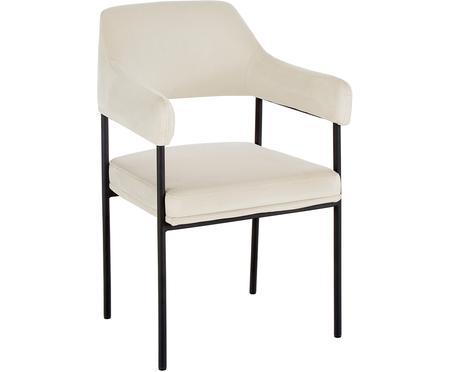 Krzesło z podłokietnikami z aksamitu Zoe