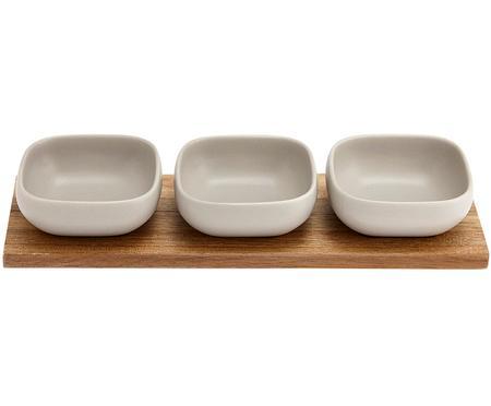 Komplet miseczek do dipów z porcelany i drewna akacjowego Essentials, 4 elem.