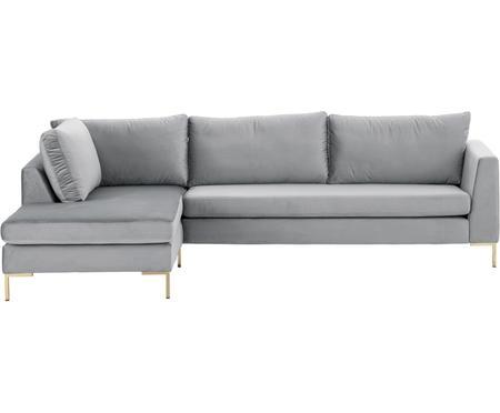 Sofa narożna z aksamitu z metalowymi nogami Luna