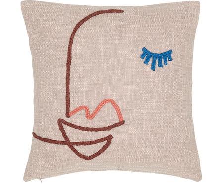 Haftowana poszewka na poduszkę z bawełny organicznej Faces