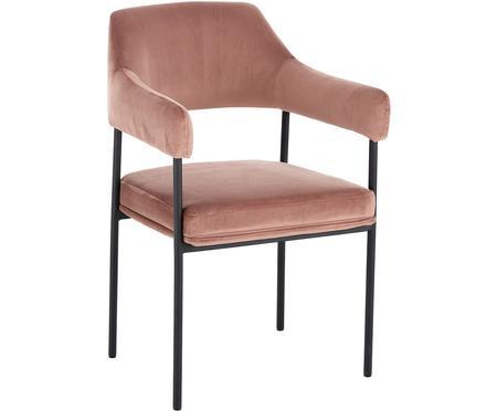 Krzesło z aksamitu z podłokietnikami Zoe