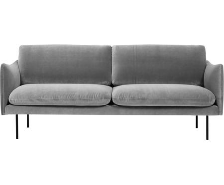Sofa z aksamitu z metalowymi nogami Moby (2-osobowa)
