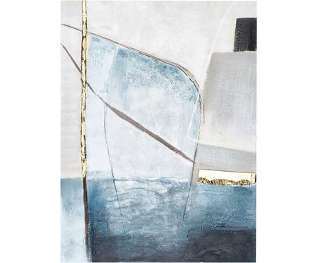 Ręcznie malowany obraz na płótnie Golden Blue II
