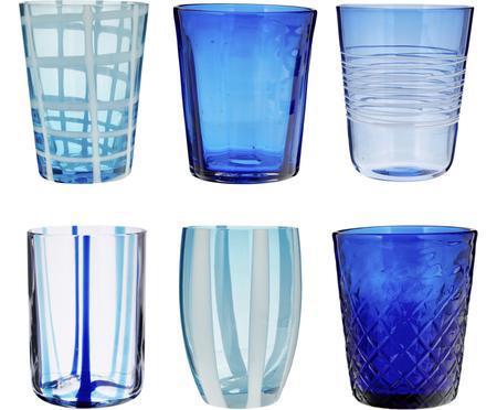 Komplet szklanek do wody ze szkła dmuchanego Melting Pot Sea, 6 elem.
